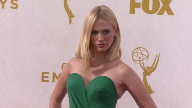 january jones at the 67th annual primetime emmy awards at microsoft theater on september 20 2015 in los angeles california - january jones stock videos & royalty-free footage