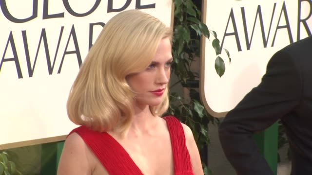january jones at the 68th annual golden globe awards arrivals part 2 at beverly hills ca - january jones stock videos & royalty-free footage