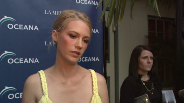 january jones on being a part of the night why protecting the oceans is so important why she is supporting oceana how people can help save the oceans... - january jones stock videos & royalty-free footage