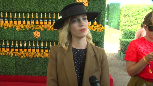 interview january jones on being at the event on their polo style and on halloween plans at the sixthannual veuve clicquot polo classic los angeles... - january jones stock videos & royalty-free footage