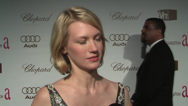 january jones on being inspired by wellwritten stories and on finding the olympics inspiring at the 14th annual elton john aids foundation oscar... - january jones stock videos & royalty-free footage