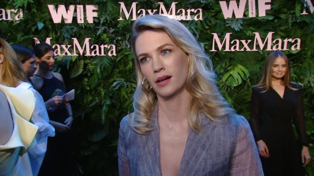 interview january jones on what brings her out why she's excited to celebrate this years wif max mara face of the future why its important to have... - january jones stock videos & royalty-free footage