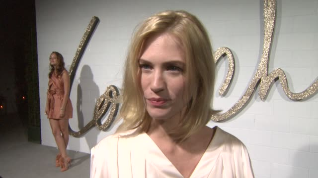 january jones on what she's wearing and on what she loves about chloe at the chloe los angeles boutique opening celebration at los angeles ca - january jones stock videos & royalty-free footage