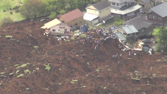 japan, april 16 kyodo - a powerful magnitude-7.3 earthquake struck the island of kyushu in southwestern japan early saturday, bringing the total... - 救う点の映像素材/bロール