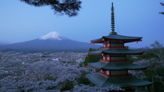 Japan beautiful landscape Mountain Fuji and Chureito red pagoda with cherry blossom