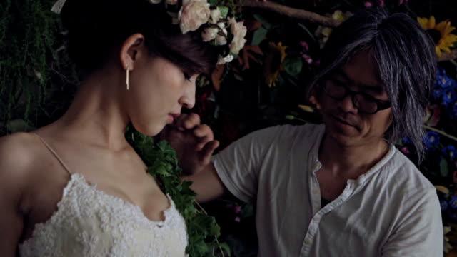 Japan Bride Getting Flowers Ready For Wedding