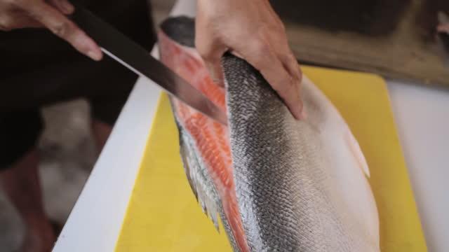 japan chef prepares fresh salmon fish. - fish stock videos & royalty-free footage