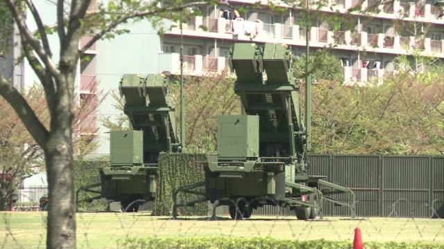 japan deploys patriot missiles in its capital as it readies to defend the 30 million people who live in greater tokyo from any north korean attack.... - 30 seconds or greater stock-videos und b-roll-filmmaterial