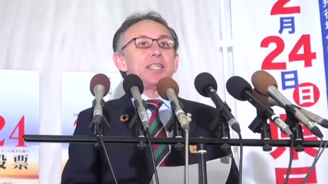 okinawa gov denny tamaki speaks to the press at the prefectural government office in naha on feb 14 2019 campaigning began the same day for a... - 国民投票点の映像素材/bロール