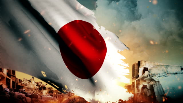 4k japan flag - crisis / war / fire (loop) - japanese culture stock videos & royalty-free footage