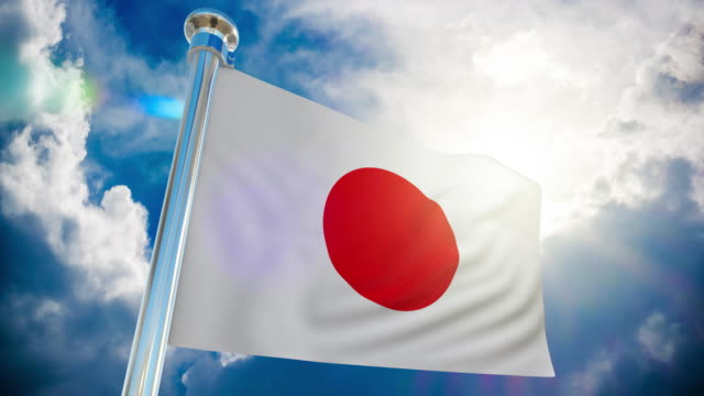 4k - japan flag loopable stock video - national flag stock videos & royalty-free footage