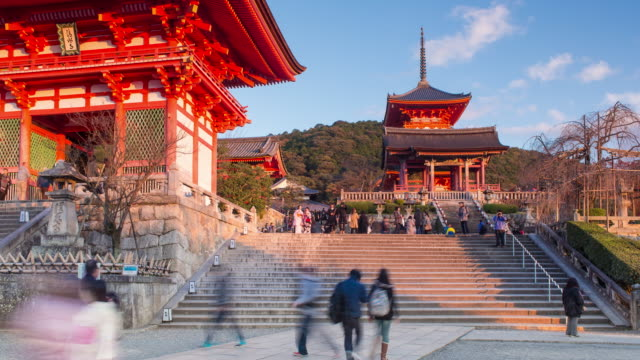 japan, honshu, kyoto, kiyomizu-dera temple, classified as world heritage by unesco - kyoto temple stock videos and b-roll footage