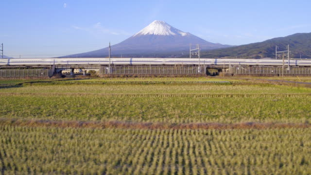 vídeos de stock, filmes e b-roll de japan, honshu, mount fuji, shinkansen bullet train passing through harvested rice fields below the snow capped volcano - trem de passageiros trem