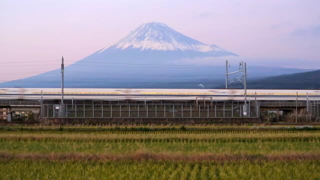 Japan, Honshu, Mount Fuji, Shinkansen Bullet Train passing through harvested rice fields below the snow capped volcano