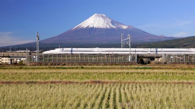 japan, honshu, mount fuji, shinkansen bullet train passing through harvested rice fields below the snow capped volcano - shinkansen stock videos & royalty-free footage