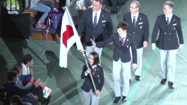 speed skater nao kodaira and ski jumper sara takanashi on wednesday joined a group of japanese athletes for an inauguration ceremony ahead of next... - opening ceremony stock videos & royalty-free footage