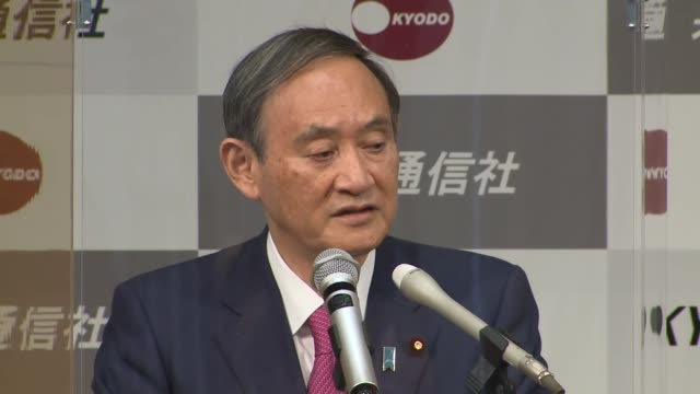 japanese prime minister yoshihide suga makes a speech at the kyodo news head office in tokyo on oct. 16, 2020. - 首相点の映像素材/bロール