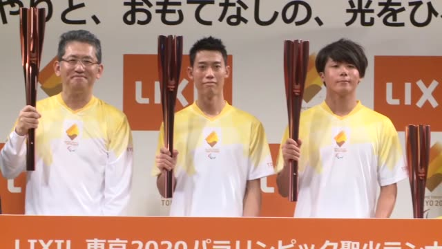 vídeos de stock, filmes e b-roll de japanese professional tennis player kei nishikori speaks at an event marking the start of applications for torch relay runners for the 2020 tokyo... - marcação esporte