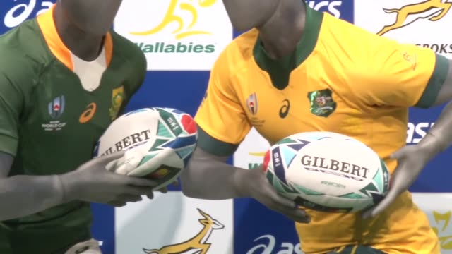 tokyo japan kyodo former australia captain stephen moore poses for a photo in tokyo on june 11 with the new jerseys of australia and south africa to... - insel honshu stock-videos und b-roll-filmmaterial