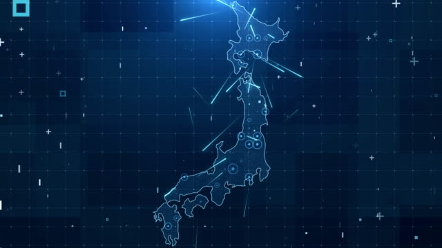 japan map connections full details background 4k - giappone video stock e b–roll