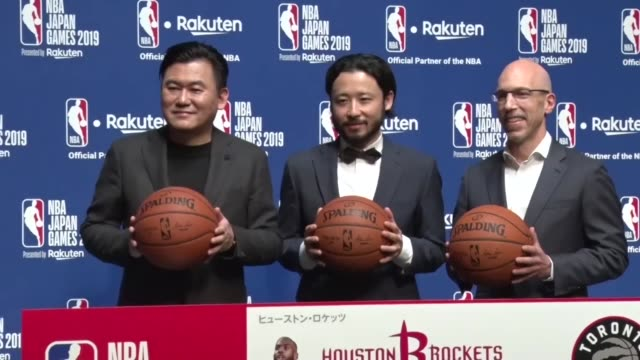 hiroshi mikitani ceo of japanese online shopping giant rakuten inc speaks at a press conference in tokyo on march 5 about nba preseason games in... - insel honshu stock-videos und b-roll-filmmaterial