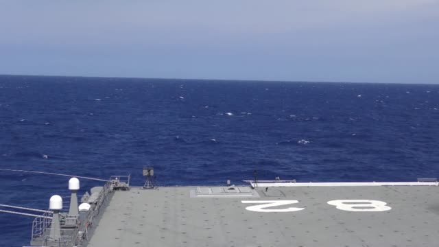 japan maritime selfdefense force destroyer helicopter ship js ise launches evolved sea sparrow missiles during a missile exercise while participating... - arpone video stock e b–roll