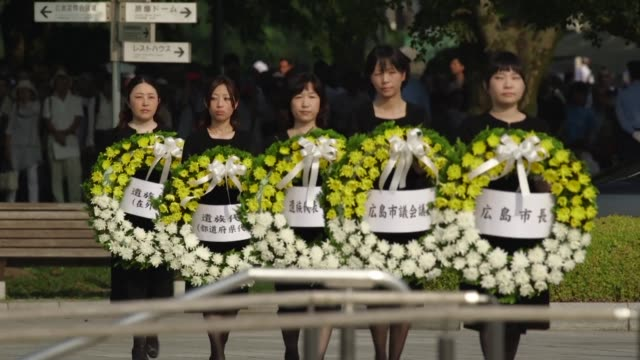 japan marks the 70th anniversary of the atomic bombing of hiroshima with a memorial ceremony - memorial stock videos & royalty-free footage