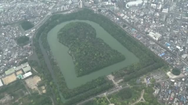 movie taken may 14 from a kyodo news helicopter shows the emperor nintoku mausoleum japan's largest ancient mound officially called daisen kofun one... - japanese royalty stock videos and b-roll footage