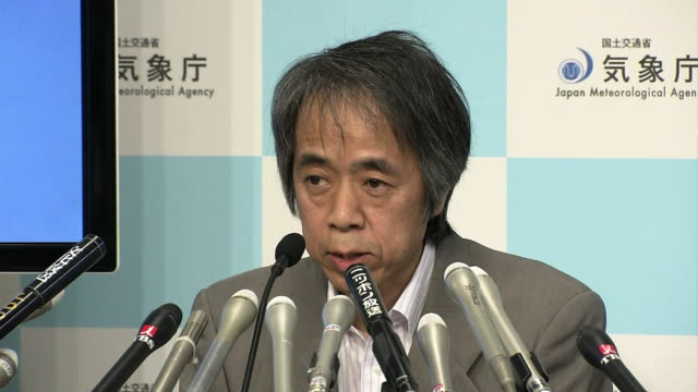 "Japan Meteorological Agency press conference Sadayuki Kitagawa an official of the Japan Meteorogical Agency saying ""Mount Shindake has erupted and..."