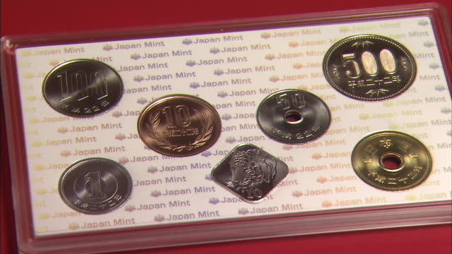 japan mint coin set 2010 - medium group of objects stock videos & royalty-free footage