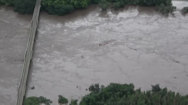 movie taken from a kyodo news helicopter shows flooded houses in the shimane prefecture city of gotsu, western japan, on july 14 after heavy rain... - shimane prefecture stock videos & royalty-free footage