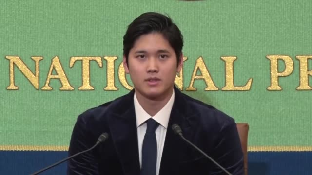 Shohei Ohtani of the Los Angeles Angels smiles at a press conference in Tokyo on Nov 22 after his rookie season in the major leagues The 24yearold...