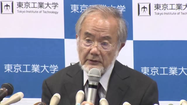 Yoshinori Osumi a Tokyo Institute of Technology professor emeritus speaks at a press conference in Tokyo on Oct 3 after winning the Nobel Prize in...