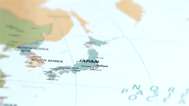 asia japan on world map - map stock videos & royalty-free footage