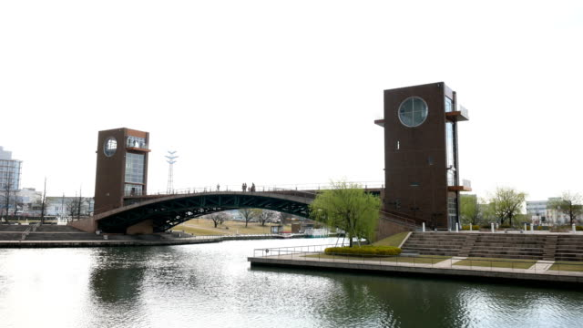 japan park and bridge, landmark in toyama japan - toyama prefecture stock videos and b-roll footage