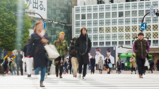 japan, shibuya crossing, shibuya ward, tokyo - japan, avenue - mid section stock videos & royalty-free footage