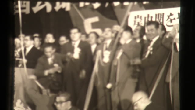 japan socialist party demonstration lead by inejiro asanuma, politics in asia - organized group stock videos & royalty-free footage