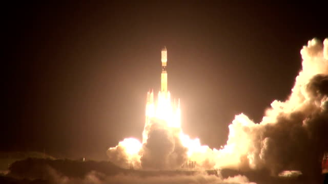 japan successfully launched a rocket carrying supplies to the international space station from the tanegashima space center in kagoshima prefecture... - launch event stock videos & royalty-free footage