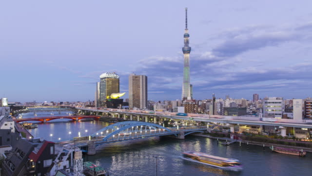 Japan, Tokyo, city skyline and the Skytree on the Sumida River at dawn
