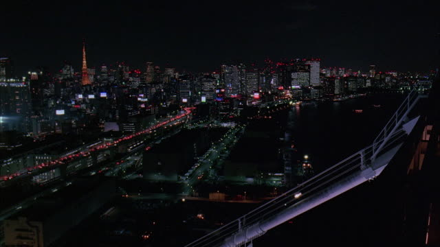 ws, ha, japan, tokyo, cityscape at night - 2005年点の映像素材/bロール