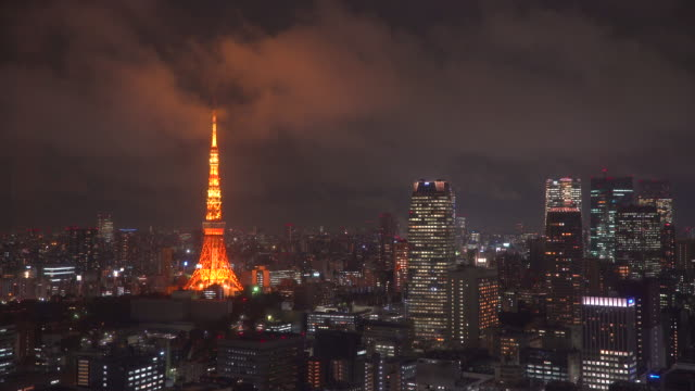 Japan, Tokyo, elevated view of the city skyline and iconic Tokyo Tower