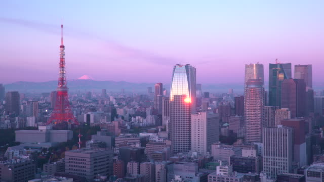 japan, tokyo, elevated view of the city skyline and iconic tokyo tower - tokyo japan stock videos and b-roll footage