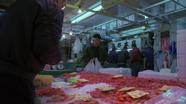 ms, japan, tokyo, fish market - shrimp seafood stock videos & royalty-free footage