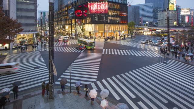 Japan, Tokyo, Ginza, elevated view of Sukiyabashi pedestrian crossing