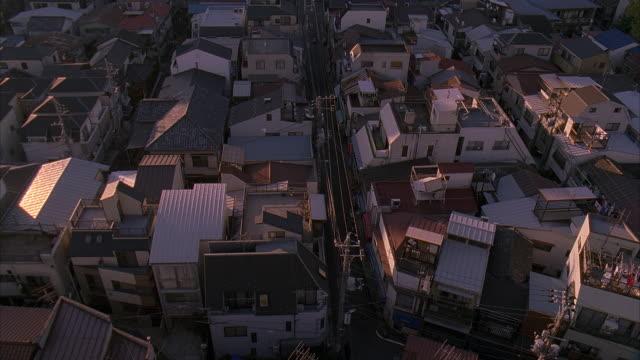 ms, ha, japan, tokyo, rooftops in residential district - 2005年点の映像素材/bロール