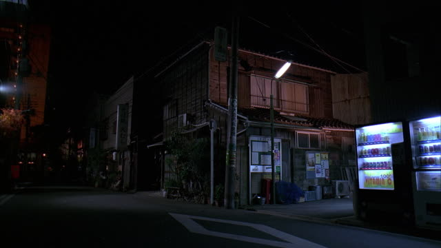 ms, japan, tokyo, small apartment building and empty street at night - street stock videos & royalty-free footage
