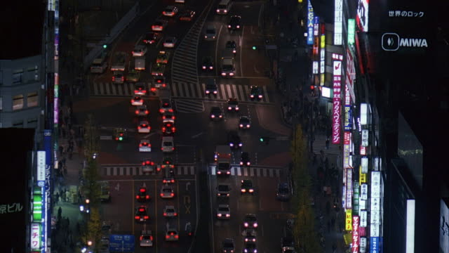 ms, ha, japan, tokyo, traffic jam in downtown district at night, overhead view - 2005年点の映像素材/bロール
