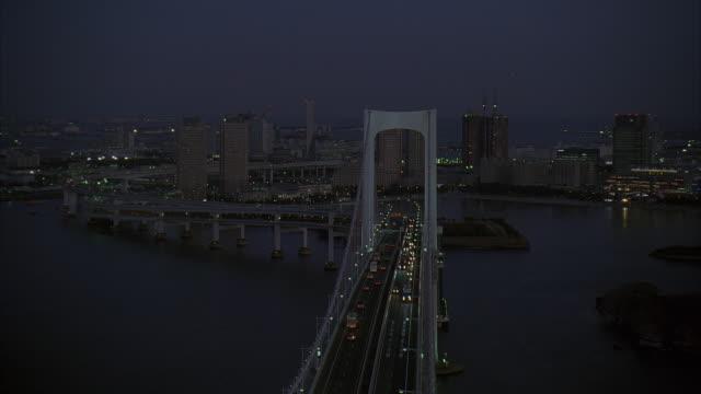 ms, ha, td, japan, tokyo, traffic on rainbow bridge at night - 2005年点の映像素材/bロール