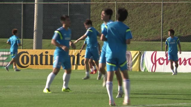 Japan train ahead of taking on Greece in Natal on Thursday with both teams looking to record a win after opening day defeats in World Cup Group C