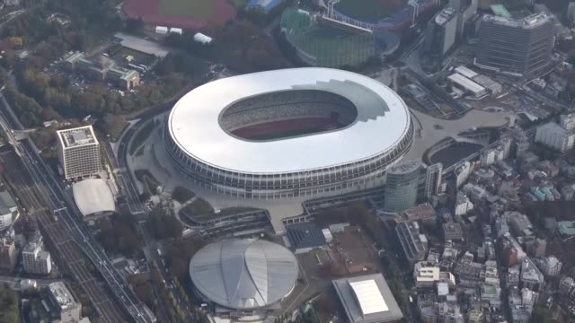 video taken nov 19 in tokyo shows the new national stadium the main venue for the 2020 tokyo olympics and paralympics after the completion of its... - 完了する点の映像素材/bロール